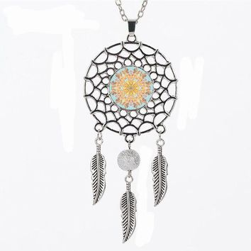 Silver Flower of Life Pendant Necklace Mandala Sacred Geometry Glass Necklaces Dream Catcher Jewelry Women Accessories