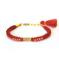 Red bracelet with tube, bracelet with rhinestones, knit bracelet with tassel