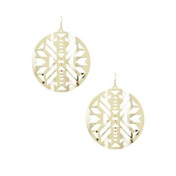 Large gold abstract circle earrings