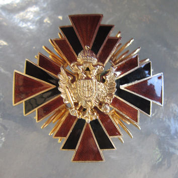 Big Accessocraft brown black and goldtone enamel Maltese cross brooch