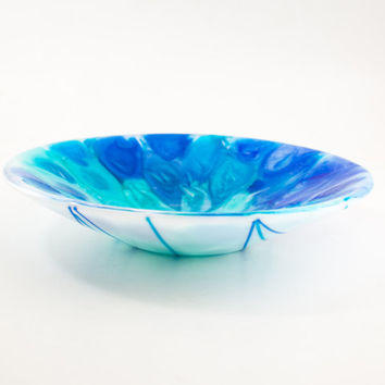 Modern Art Bowl, Decorative Centerpiece, Unique Design, Fused Glass, One of a Kind, Cobalt Blue and Turquoise, Cool Wedding Gift for Couples