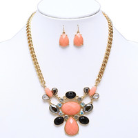 Multi-stone Coral Statement Necklace w/ Drop Earrings