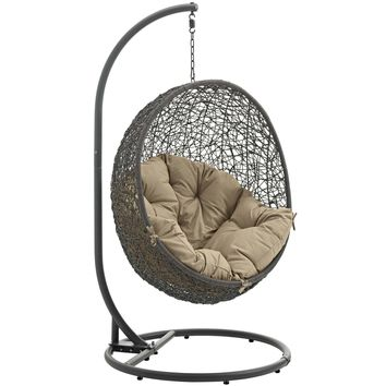 Hide Outdoor Patio Swing Chair With Stand Gray Mocha EEI-2273-GRY-MOC