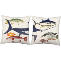 Set of 2 Fishing Print Throw Pillows - Fish Print Pillow Cover with or without Cushion Inserts - Blue Marlin Print, Bass Print Pillow, Fish