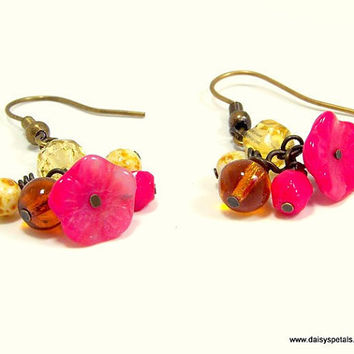 OOAK Handmade Red Flower and Mixed Color Glass Bead Dangle Earrings