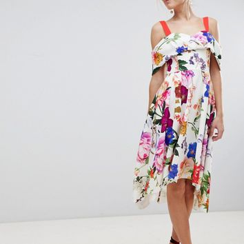 ASOS Botanical Floral Cold Shoulder Midi Prom Dress at asos.com