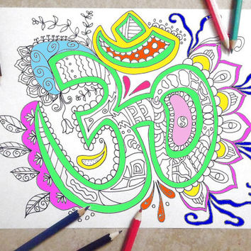 Om Coloring Book Page Art Therapy Adults Zen Mantra Instant Download Colouring Meditation Printable Print Digital