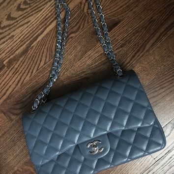 Chanel Quilted Caviar Leather Jumbo Double Flap Bag Full Set RARE Blue-Grey