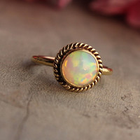 Gold Opal ring - Opal Ring - Engagement ring - Wedding ring - Artisan ring - October birthstone - Bezel ring - Gift for her