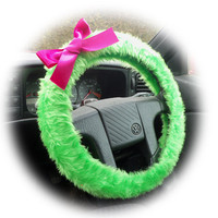 Bright Lime Green fuzzy car steering wheel cover faux fur with Barbie Pink satin Bow cute and fluffy