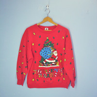 80s Ugly Christmas Sweatshirt, Santa Sweatshirt, I Believe in Santa, Holiday Sweater, Size L