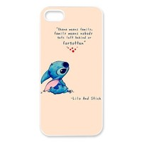 DiyCaseStore Custom Personalized Disney Lilo and Stitch iPhone 5 5S Best Durable Cover Case - Ohana means family,family means nobody gets left behind,or forgotten.