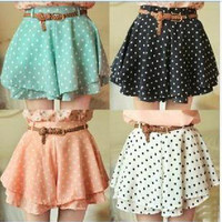 042921 u Pleated Polka Dot Chiffon Divided Skirt from MegaFashion
