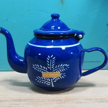 Small Romanian Enamelware Teapot • Cobalt Blue • Made in Romania • Blue and White Enamel Teapot • Romanian Enamelware • Blue Enamel War Pot
