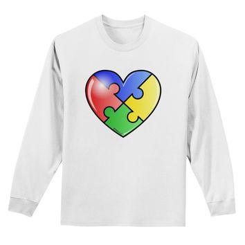 Big Puzzle Heart - Autism Awareness Adult Long Sleeve Shirt by TooLoud