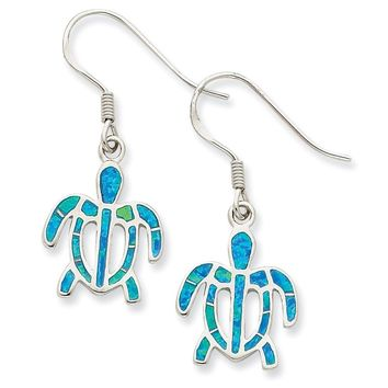 Sterling Silver Simulated Blue Opal Inlay Tortoise Dangle Earrings