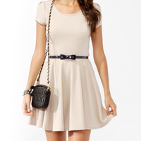 Solid Skater Dress w/ Belt
