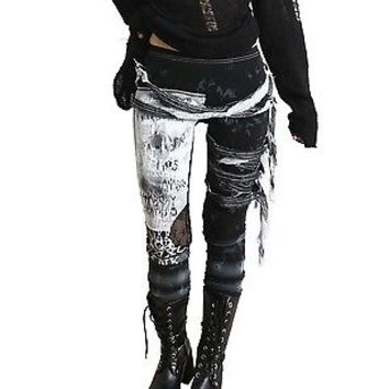 Unisex Ultra Long Gathered Punk Gothic Rocker Mummy Grunge Black Tie Dye Legging