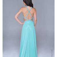 (PRE-ORDER) Nina Canacci 2014 Prom Dresses - Mint Chiffon Cut Out Halter Prom Gown