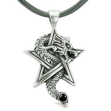 Courage Dragon Magical Powers Star Pentacle Amulet Black Simulated Onyx Pendant Leather Necklace