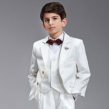 Six Pieces White Ring Bearer Suit Tuxedo