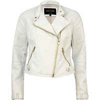 White leather look cropped biker jacket