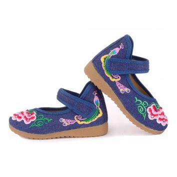 Old Beijing Embroidered Cloth Shoes Kid National Style   jeans blue