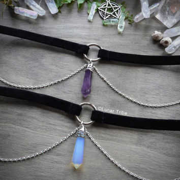 Choker necklace velvet with silver chains, opal, moonstone, amethyst, crystal, rose quartz, healing, gem, 90s grunge, witch,occult