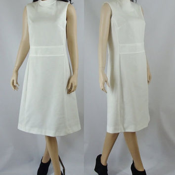 Vintage Mod Dress, White Sixties Mod Dress, Medium Large