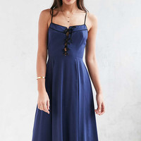 Urban Outfitters Georgia May Blue Lace-Up Midi Dress - Urban Outfitters