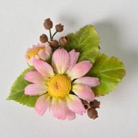 Handmade Japanese polymer clay brooch in the shape of tender floral composition