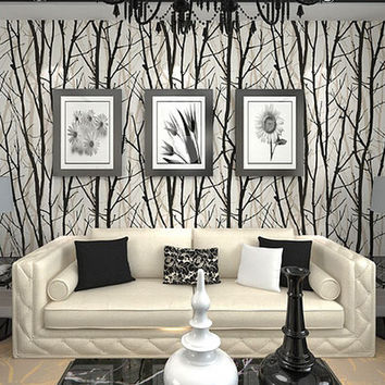 wallpaper Textured Tree Forest Woods Wallpaper PVC Wall paper Roll For TV Background Wall Home Decor Wall Paper Black White R13