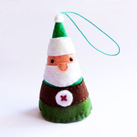 Green felt Santa Claus, Christmas ornament for your home and Christmas Tree