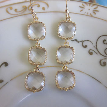 Crystal Earrings Clear Gold Plated - Glass Square Blocks - Bridesmaid Earrings - Bridal Earrings