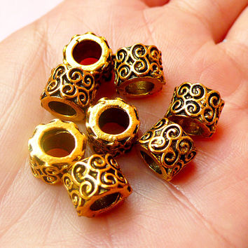 Ring Beads w/ Scroll Pattern (8pcs) (9mm x 7mm / Antique Gold) Metal Beads Findings Spacer Slider DIY Pendant Bracelet Earrings CHM443
