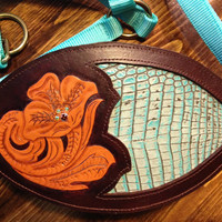 Floral Leather Bronc Horse Halter