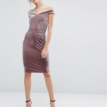Little Mistress Tall Off Shoulder Velvet Pencil Dress With Floral Lace Applique at asos.com