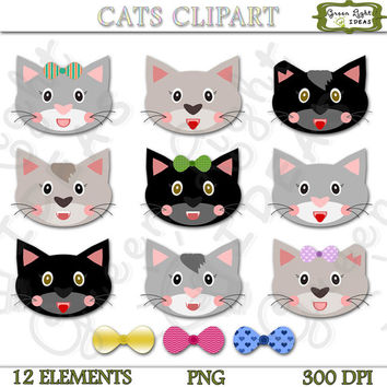 Cats Clipart Commercial Use, Cat Graphics, Cat Illustration, Printable Cats, Cat Stickers, Animals Clipart, Kitten Clipart, Pets Clipart