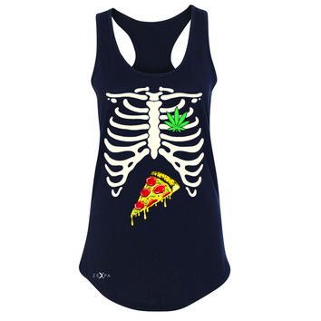 Rib Cage Weed Pizza Muchies Women's Racerback Funny Gift Friend Sleeveless
