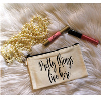 Pretty Things Live Here Cream Canvas Makeup Bag