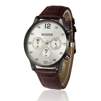 MIGEER Retro Vintage Men's Watch Leather Band Analog Quartz Wrist Watch Alloy Dial Man Clock Male Casual Business Watches reloj