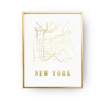 Real Gold Foil Print, New York Metro Map, Metro Map, Fashion Art, Subway, Metro Stations Print, New York City Poster, Transit Lines,