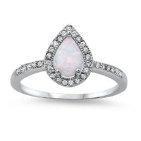 925 Sterling Silver CZ Teardrop Center Embraced Lab White Opal and Ring 10MM