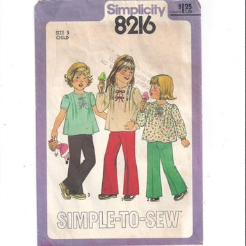 Simplicity 8216 Pattern for Girls' Pants & Pullover Top, Size 5, From 1977, Simple to Sew, Vintage Pattern, Home Sewing Pattern, Easy Sew