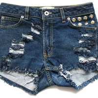 High waist jean shorts S by deathdiscolovesyou on Etsy
