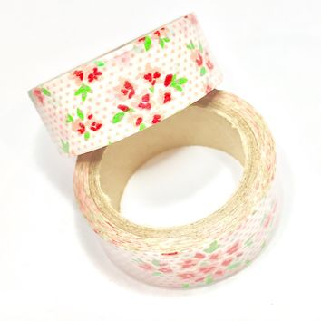 Red & pink floral roses 15mm washi tape / 5M