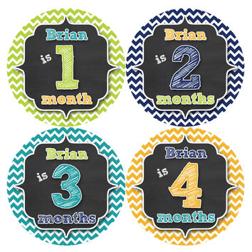 Personalized Baby Boy Monthly Stickers Style #496