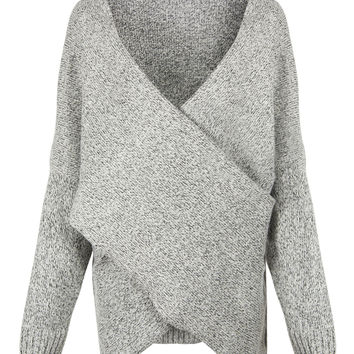 Grey Cross Front V-neck Long Sleeve Knit Jumper