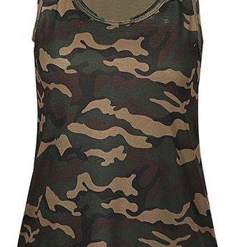 Women O-neck Striped Tee Army Green Casual Tank Tops Sleeveless Girl T-shirt Camouflage Tank