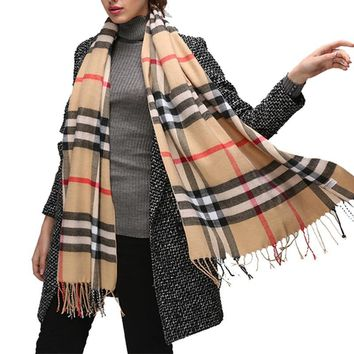 AZUE Women's Plaid Winter Scarf	Soft Pashmina Tartan Scarf Ladies Warm Cotton Bandana Wrap Shawl For Autumn Winter